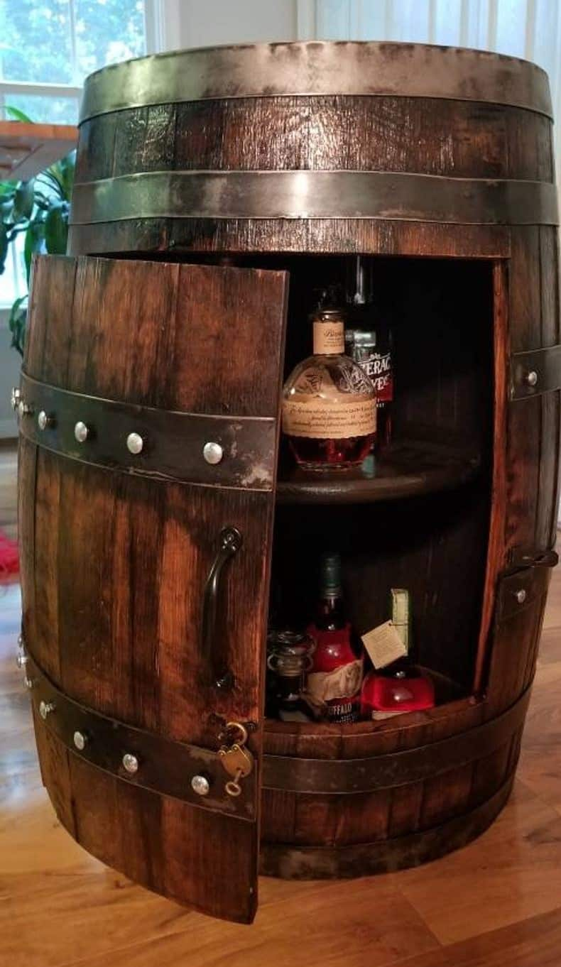 Barrel Shaped Bar Cabinet