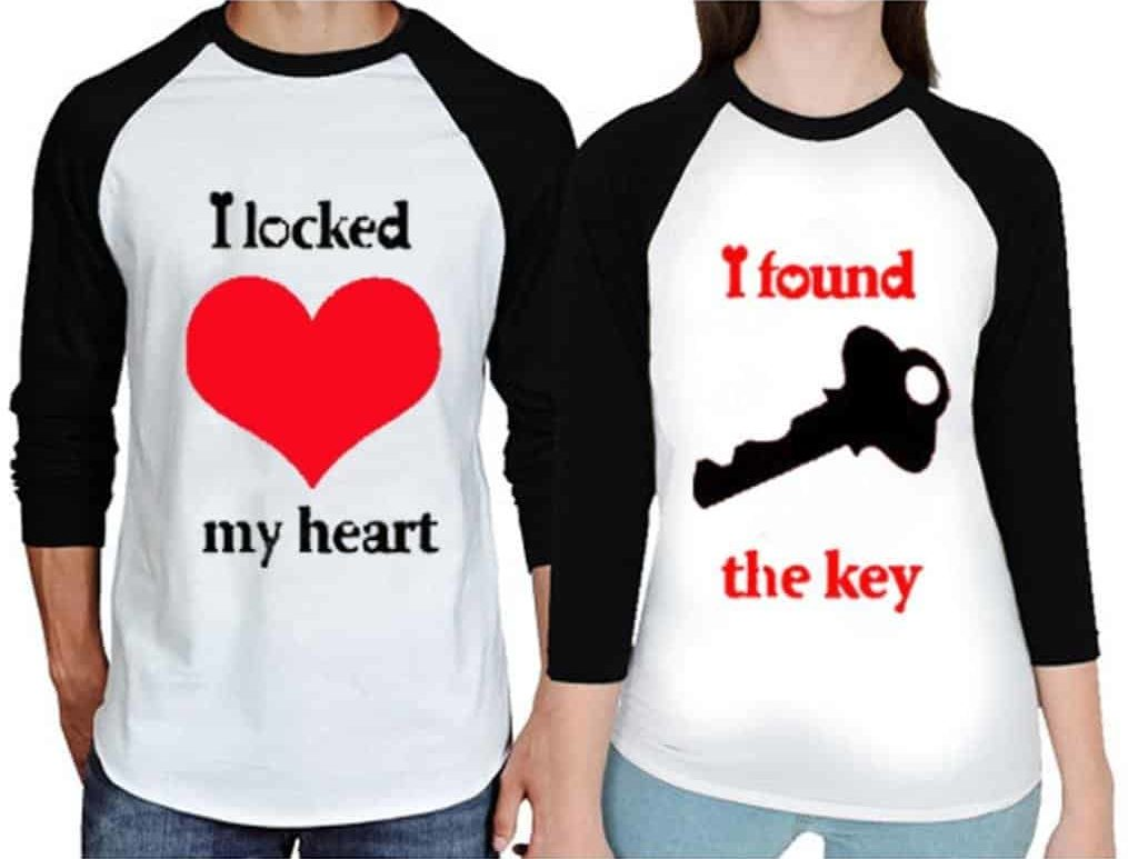 675949f1bd Full Sleeve Round Neck Love Heart & Letter Printing T-Shirts