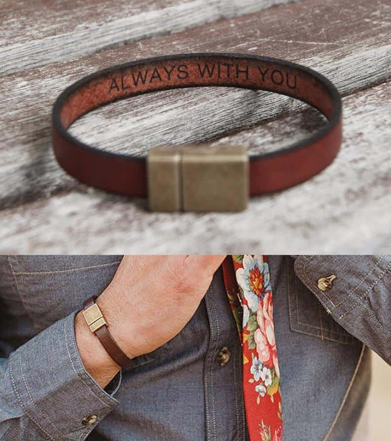 Leather Bracelet with A Custom Message