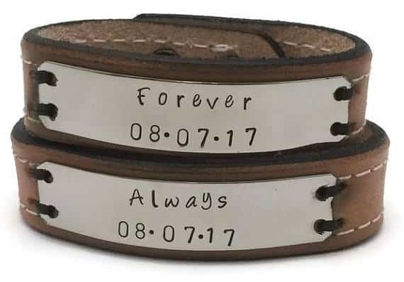 "2da57f1643d Matching Couples Bracelets  18+ Unique Matching Bracelets For Couples.  These personalized ""Always   Forever"" Leather Bracelet are an ideal present  ..."