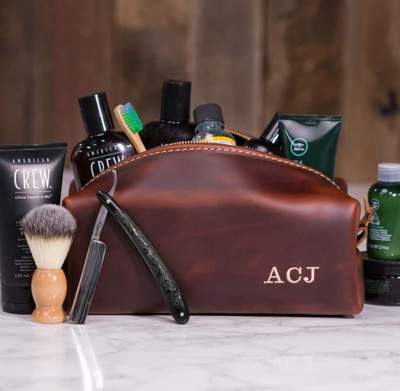 Personalized Leather Toiletry Bag