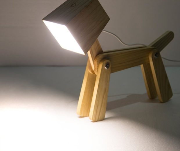 Adjustable Wooden Dog Table Lamp