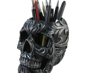 Floral Skull Stationery Holder 6