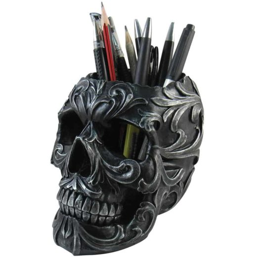 Floral Skull Stationery Holder 1