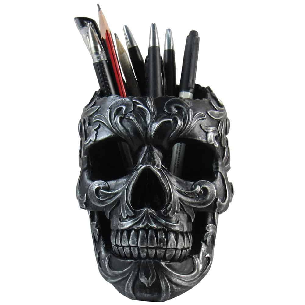 Floral Skull Stationery Holder 3