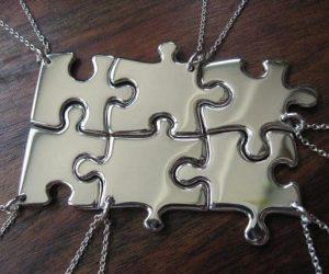 Six Silver Puzzle Pendant Necklaces