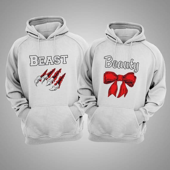 Beauty and Beast Matching Couple Hoodies