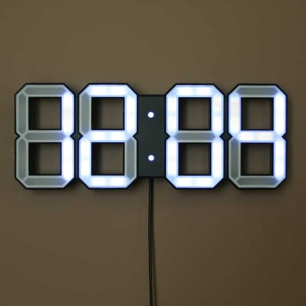 White & White LED Clock Black Edition