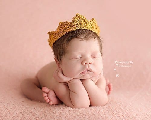 Gold Crochet Crown For Newborn