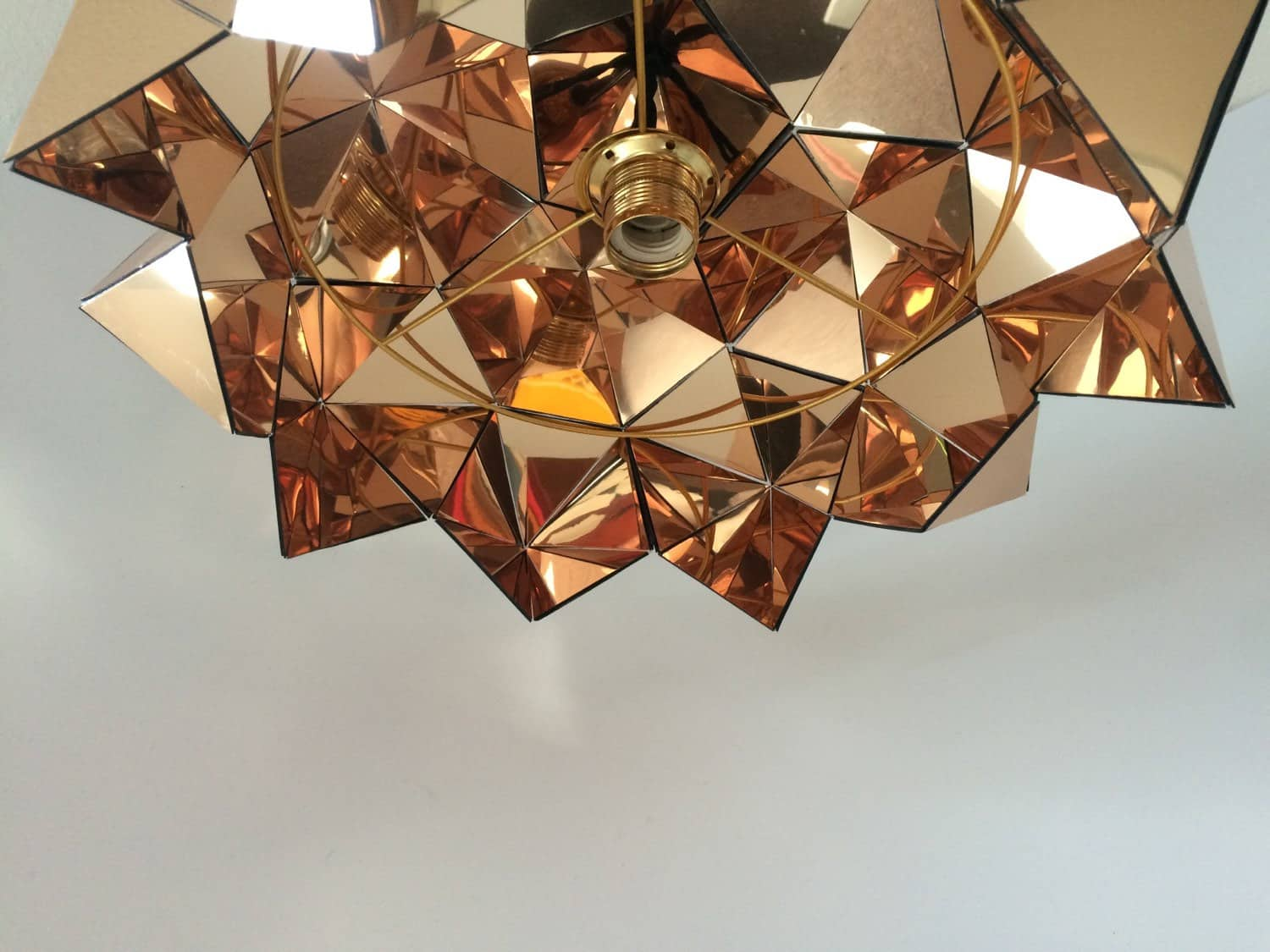 Golden Mirrored Pendant Light Sculpture