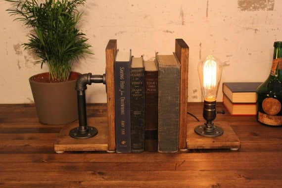 Wooden Bookend Lamp