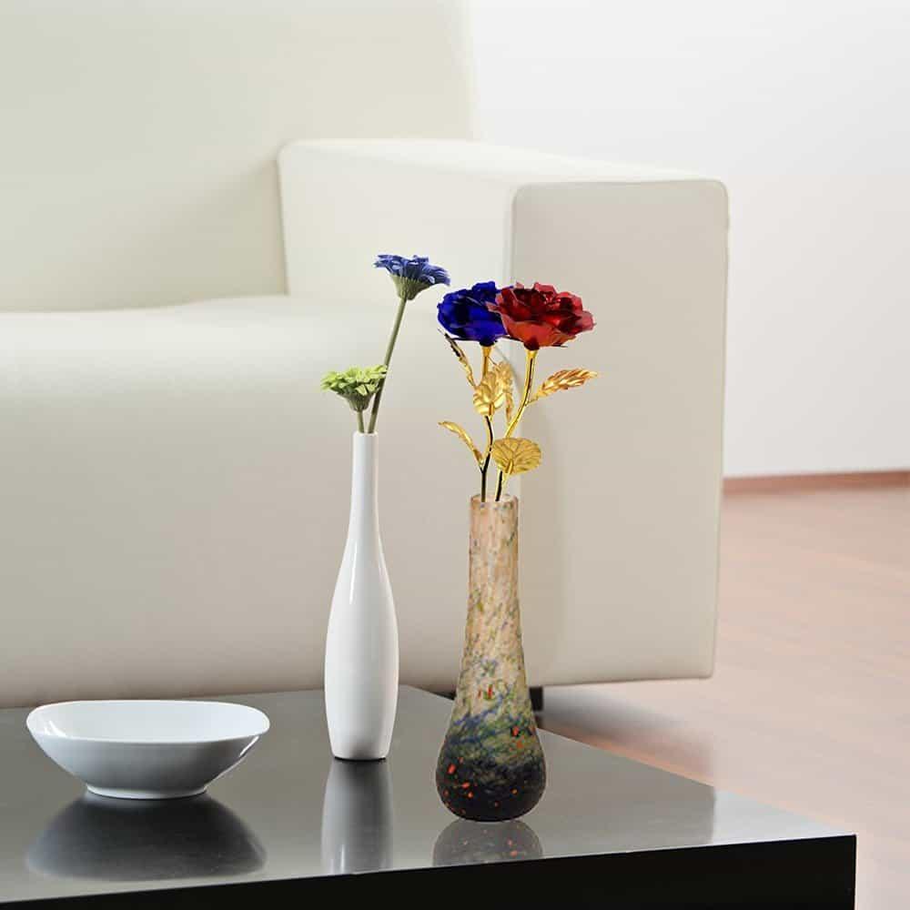 Gold Foil Artificial Blue Rose