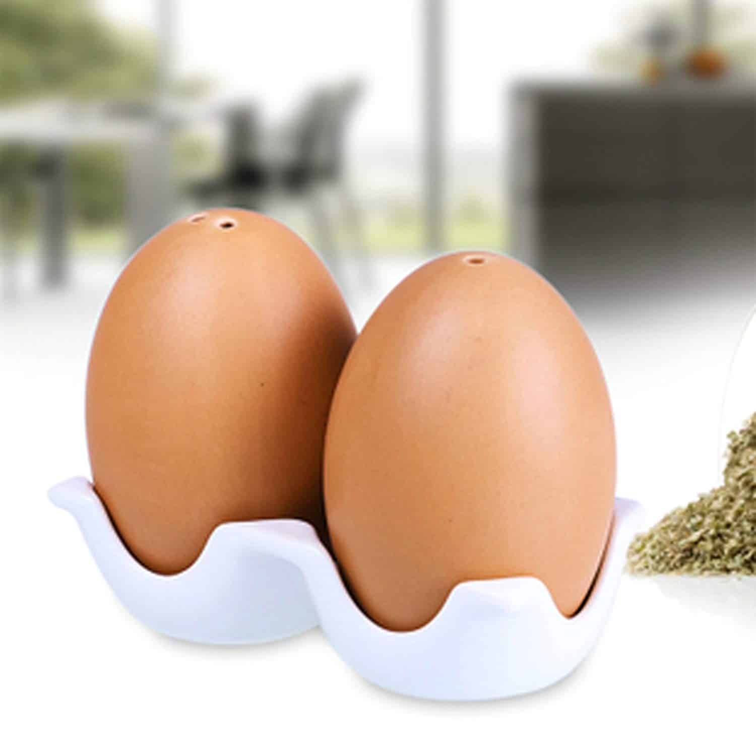 Brown Egg-Shaped Salt and Pepper Shaker