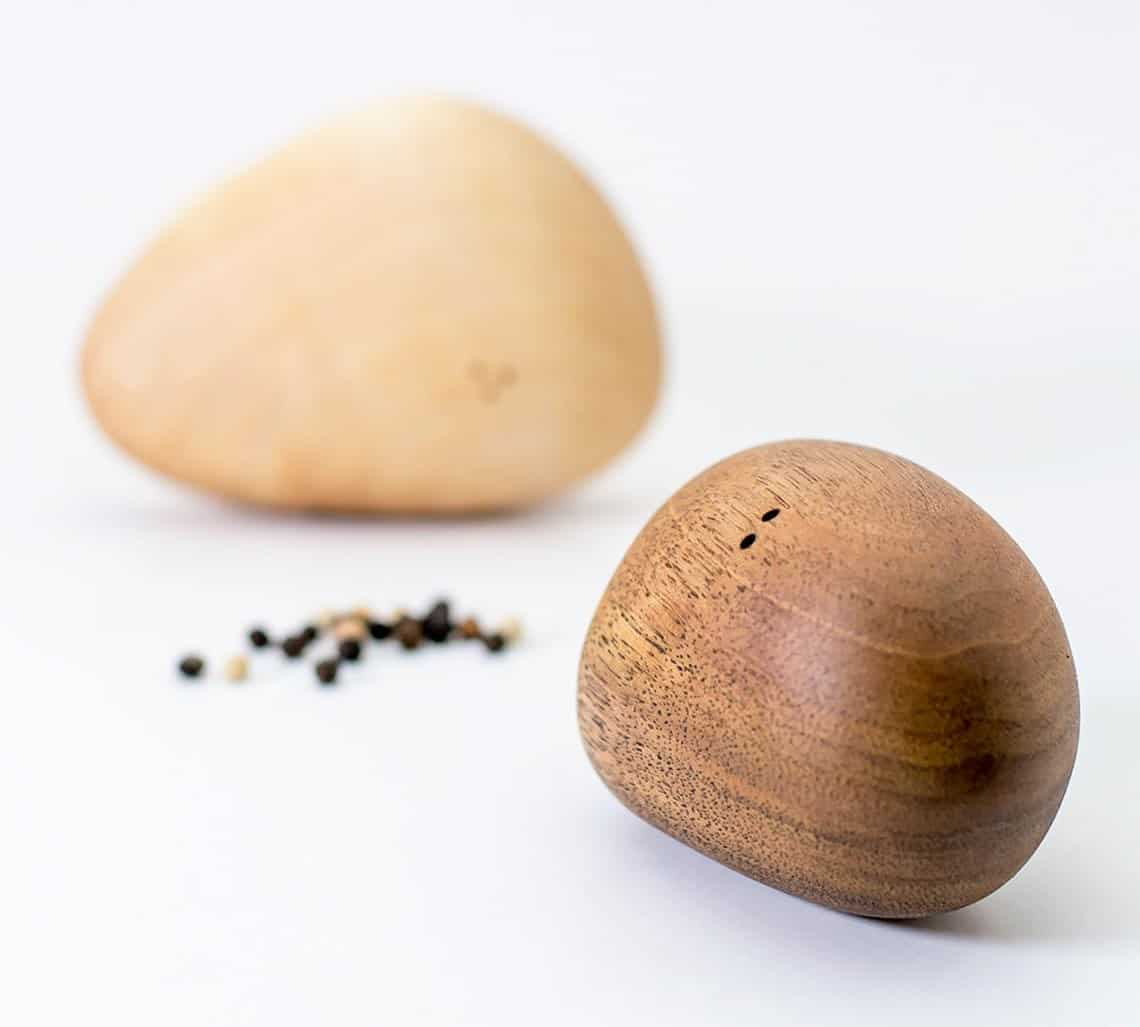 Wooden Stone Salt And Pepper Shakers