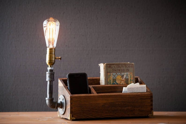 Lamp Wood Desk Organizer