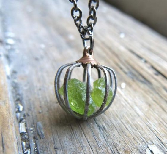 Raw Peridot Birthstone Necklace