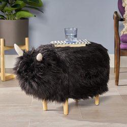Cute Furry Yak Ottoman