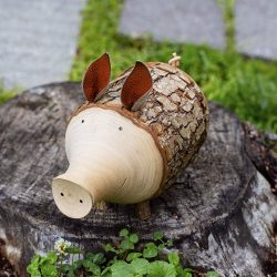 Wood Art Piggy Bank