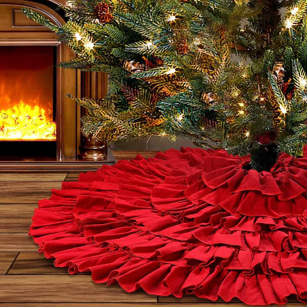 Giant Red Christmas Tree Skirt