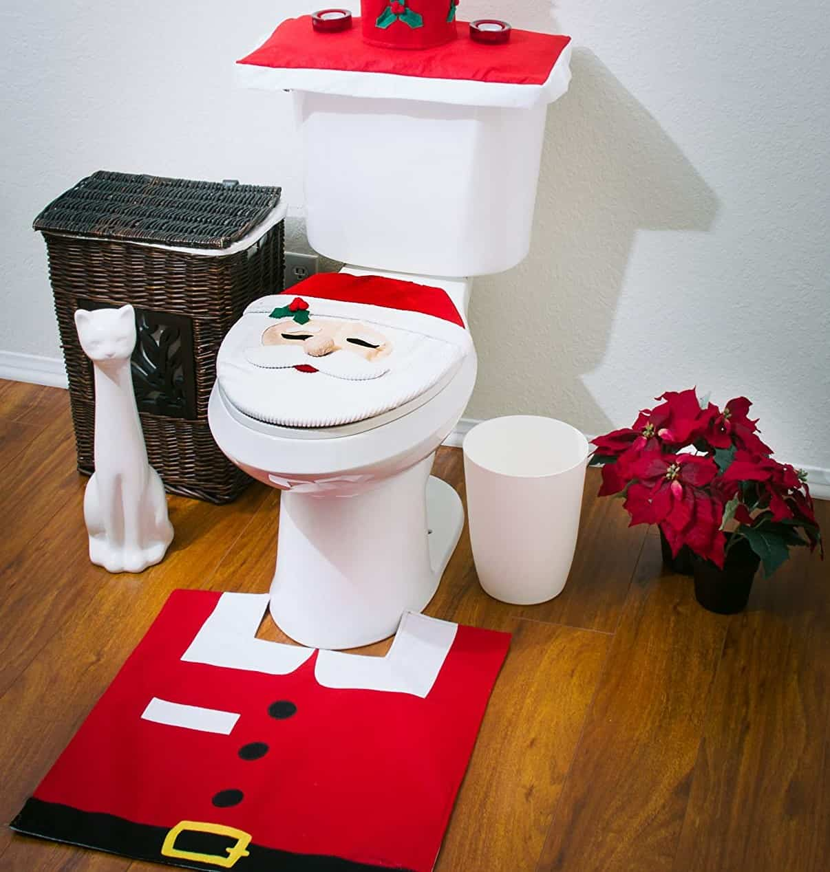 Santa Theme Commode Cover