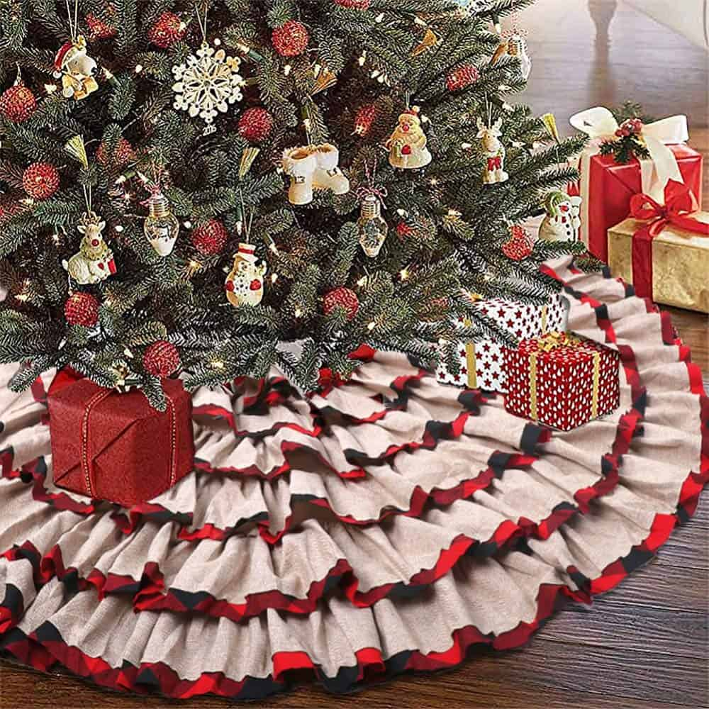 Six Layer Red & White Tree Skirt