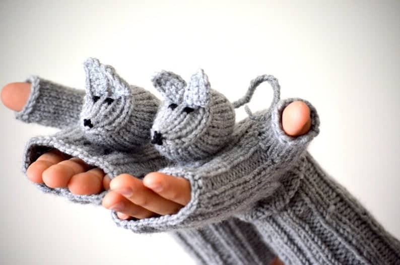 Hand Knitted Mice Gloves
