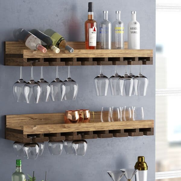 Elegant Wooden Wall Mounted Wine Glass Rack