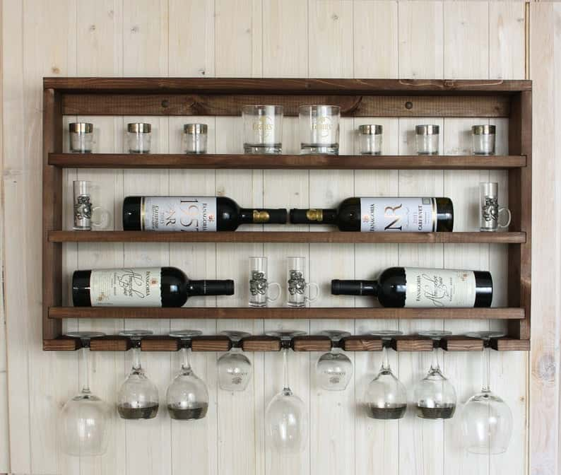Handmade Wooden Wall Mounted Glass Rack
