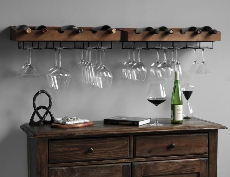 Liquor Bottle Holders with Stemware Racks