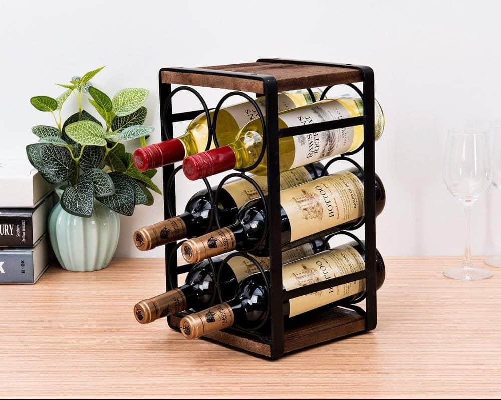 Rustic Wood Countertop Wine Rack