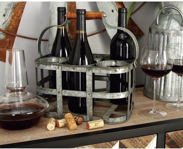 Vintage Metal Bloc Wine Carrier