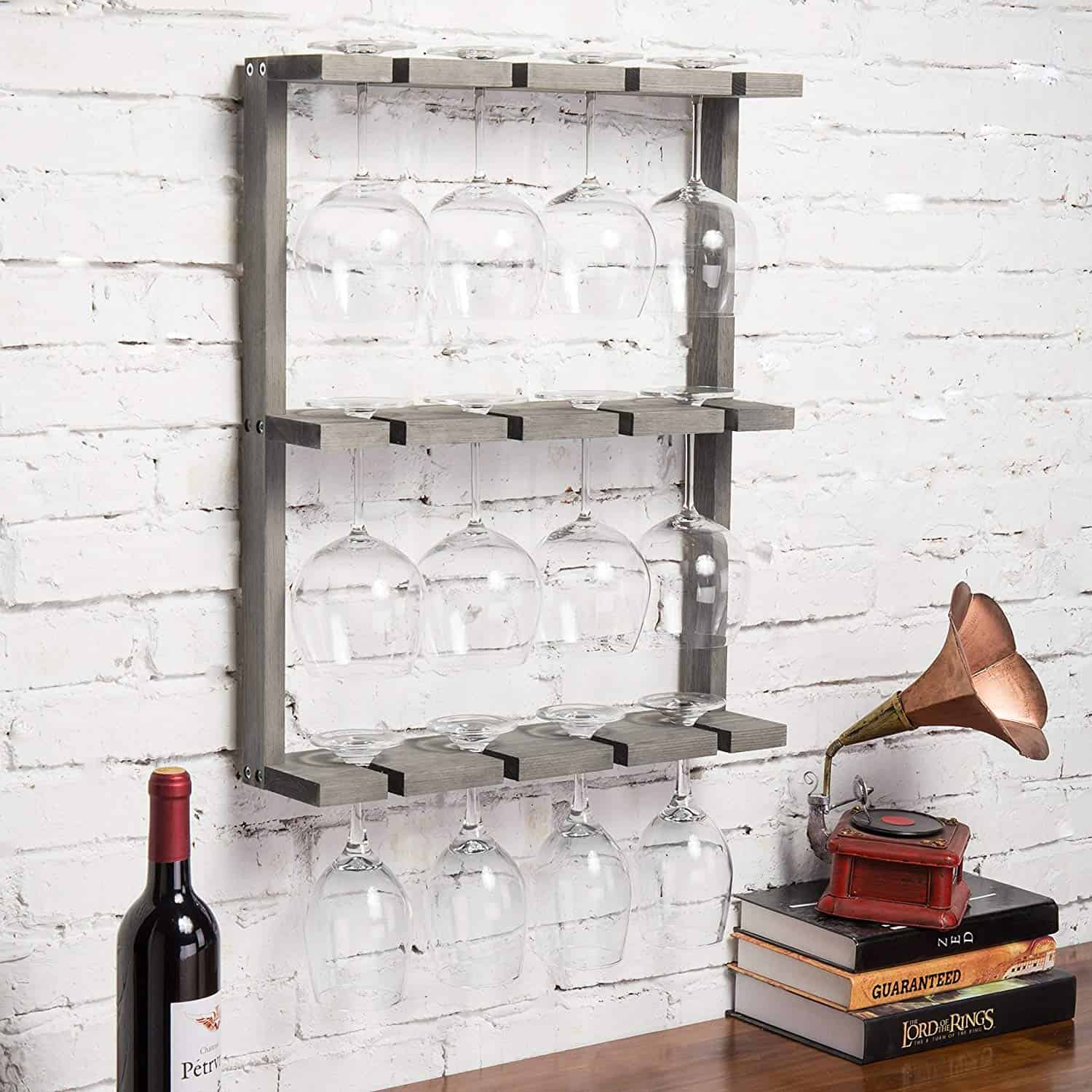 Vintage Wooden Wall-Mounted Wine Glass Rack