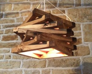 Beautiful Hanging Wooden Lamp